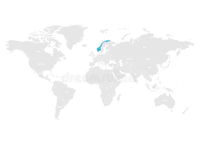 Норвегия отметила синью в карте серого мира политической также вектор иллюстрации притяжки corel иллюстрация штока