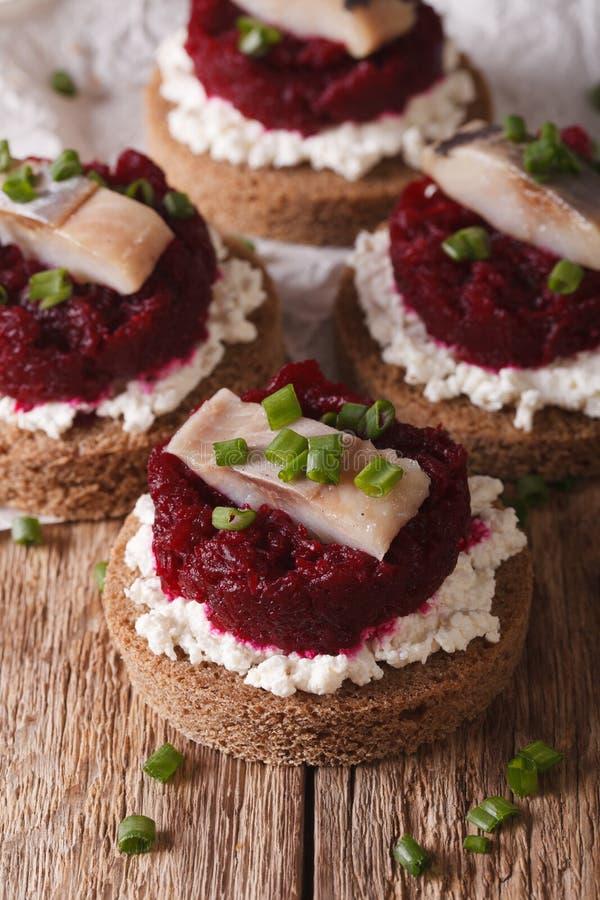 Норвежские сандвичи с плавленым сыром сельдей, бурака и Ve стоковое фото rf