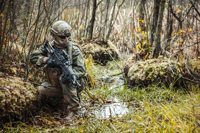 Норвежский солдат в лесе стоковая фотография