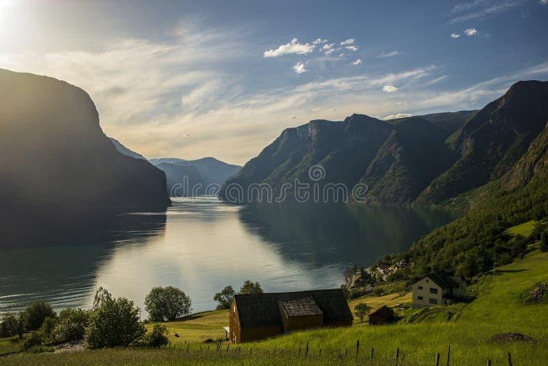 Норвежский фьорд сильно назад-осветил стоковое фото