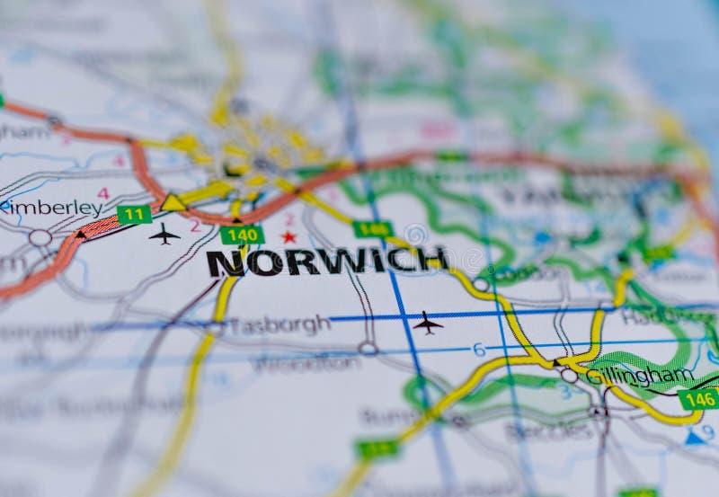 Норидж на карте стоковая фотография