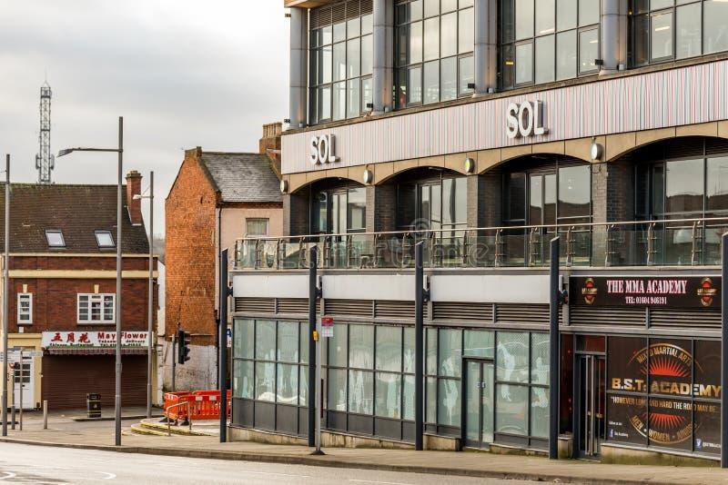 Нортгемптон Великобритания 5-ое января 2018: Логотип SOL подписывает внутри Northampton Town центризует стоковое изображение rf