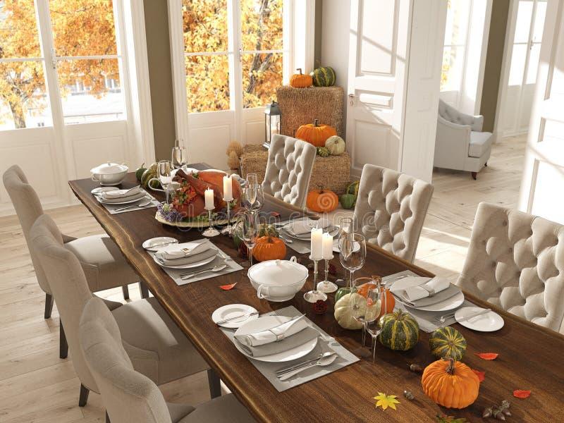 Нордическая кухня в квартире перевод 3d Принципиальная схема благодарения стоковые изображения rf