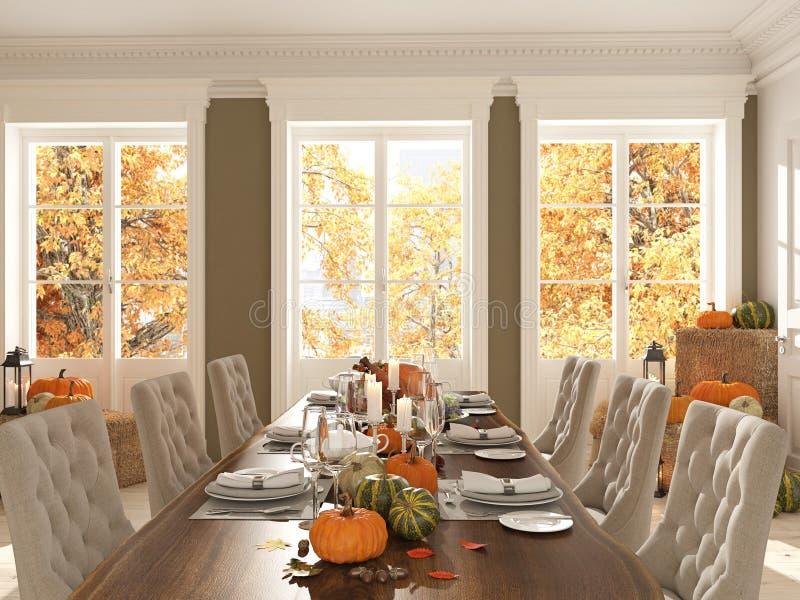 Нордическая кухня в квартире перевод 3d Принципиальная схема благодарения стоковое изображение