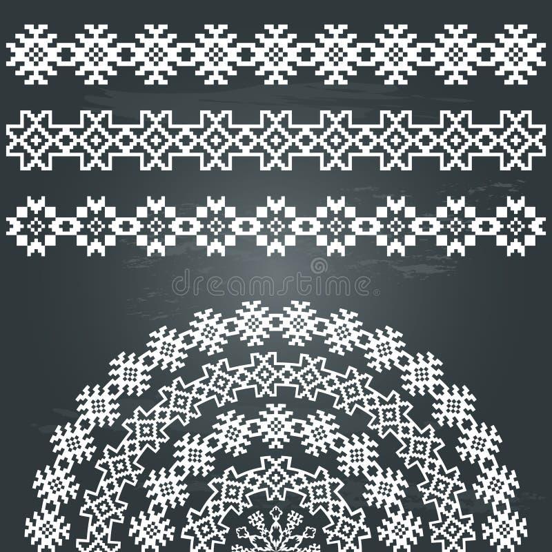 Нордические этнический комплект границ и полу-круглый бесплатная иллюстрация