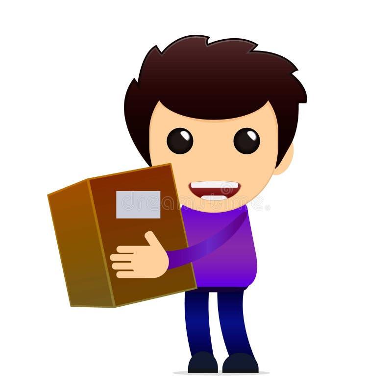 Носильщик мелких грузов шаржа с пакетом также вектор иллюстрации притяжки corel иллюстрация штока