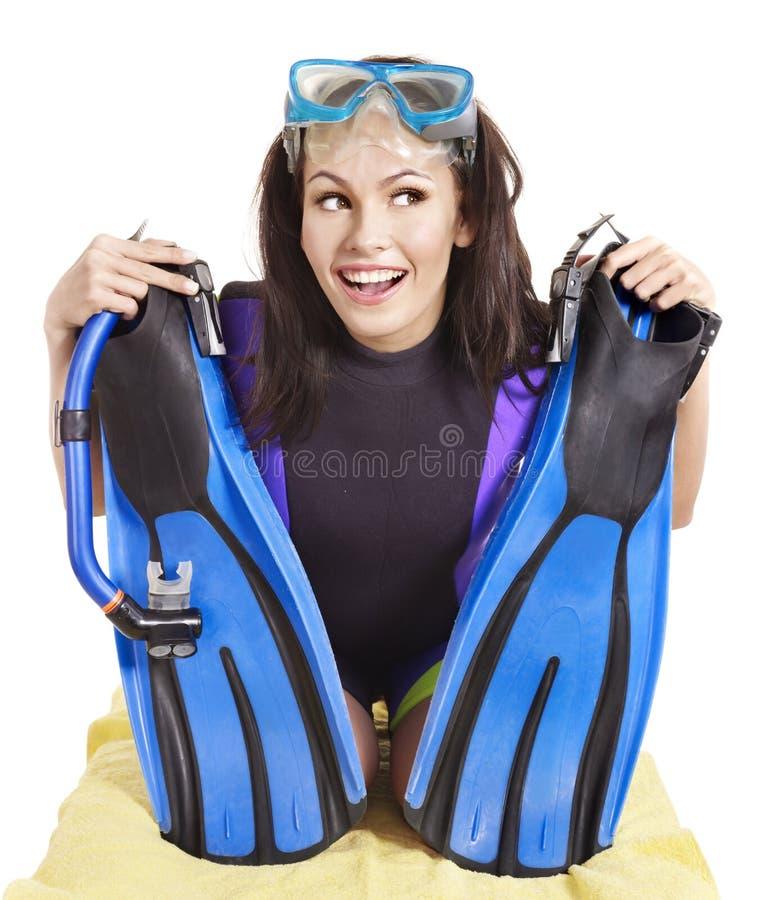носить девушки водолазного снаряжения стоковая фотография