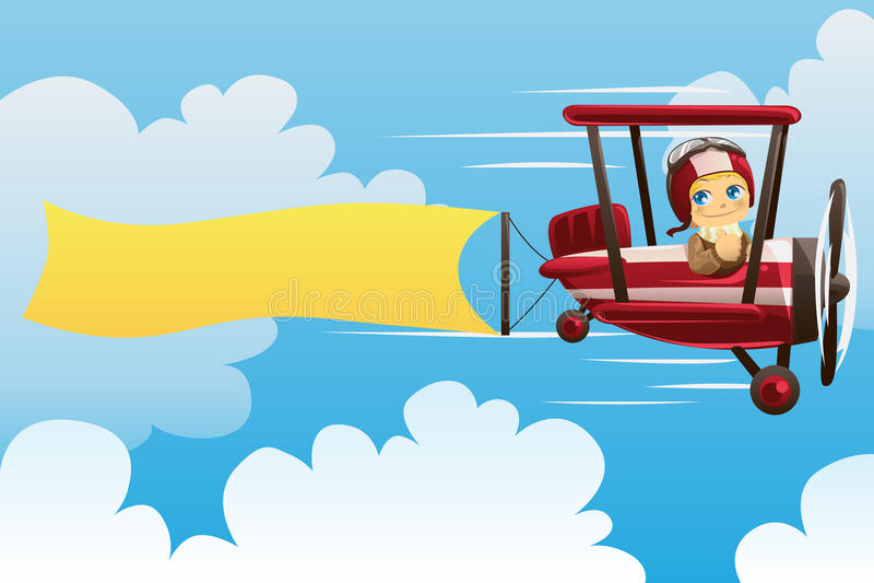 носить знамени самолета иллюстрация вектора