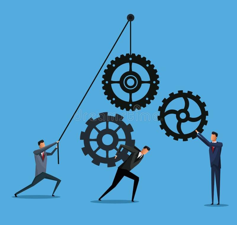 Носить работы команды шестерни сотрудничества бизнесменов бесплатная иллюстрация