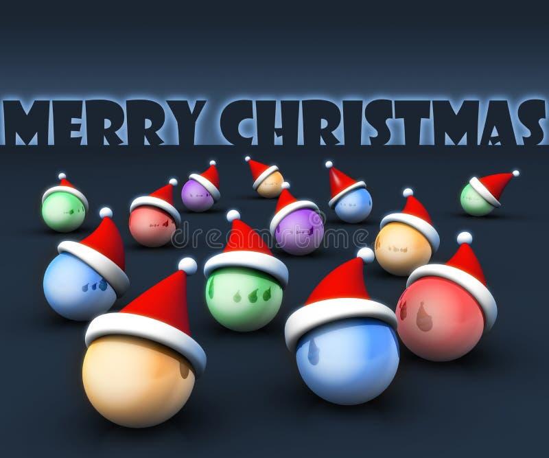 носить santa шлема приветствию принципиальной схемы рождества шарика иллюстрация вектора
