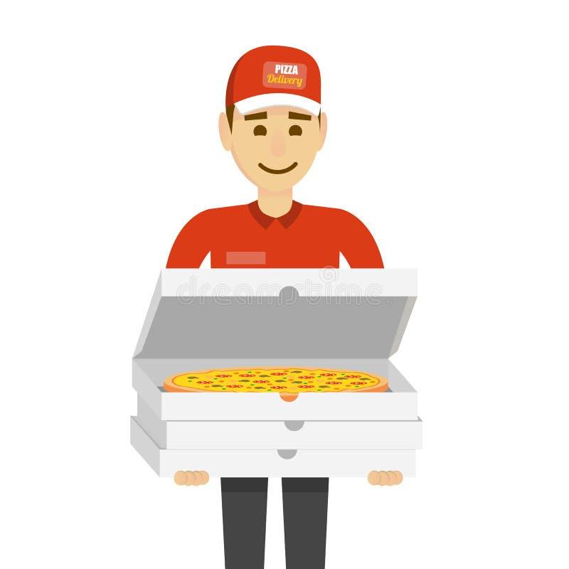 Носильщик мелких грузов с пиццей Смешной человек характера изолированный на белизне бесплатная иллюстрация