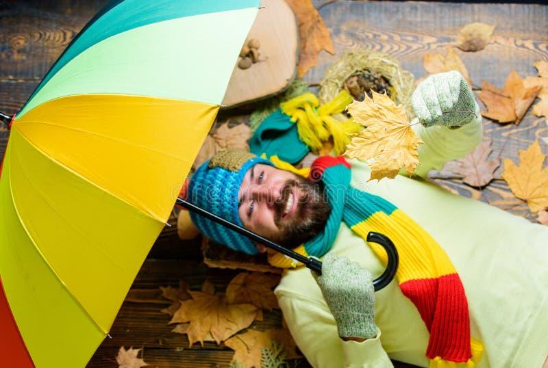 Носка битника связала шляпу а перчатки надеются ненастный зонтик владением погоды Атрибуты сезона падения Концепция metcast дождя стоковые изображения