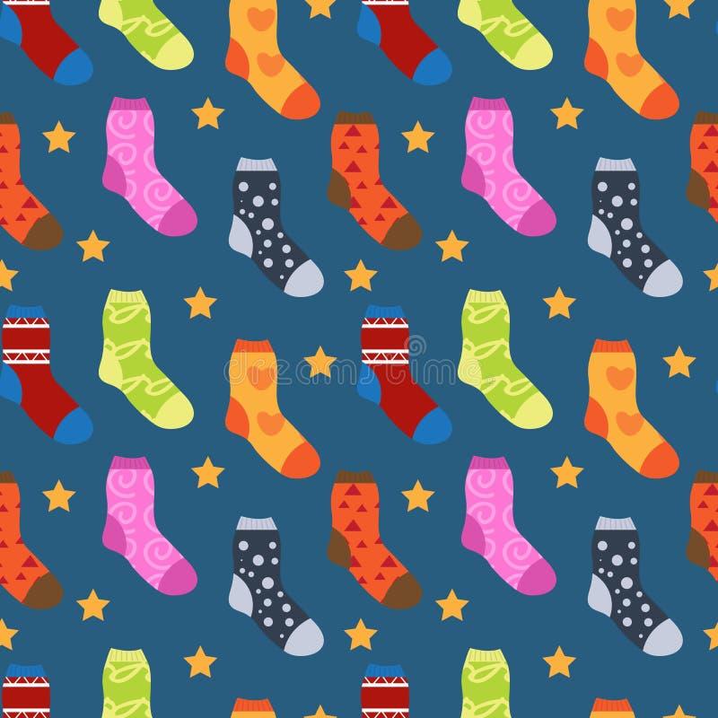 Носки зимы с картиной различных печатей безшовной Носок рождества повторяя текстуру Бесконечная предпосылка вектор иллюстрация штока