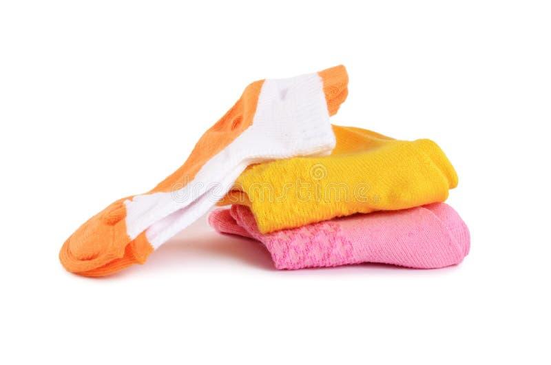 Носки ` s детей изолированные на белой предпосылке стоковая фотография