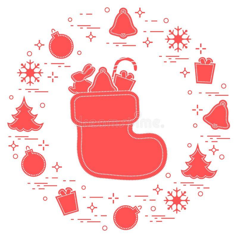 Носок рождества с подарком Символы Нового Года и рождества Зима иллюстрация вектора
