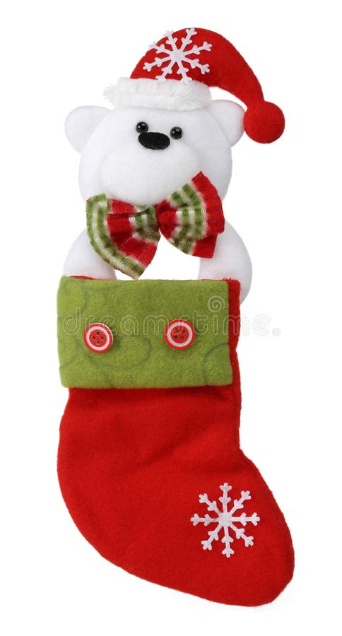 Носок рождества с полярным медведем изолированным на белой предпосылке стоковое изображение rf