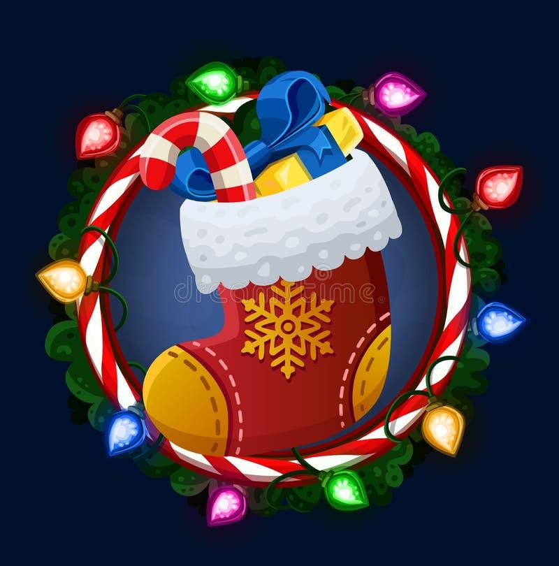 Носок рождества в рамке иллюстрация штока