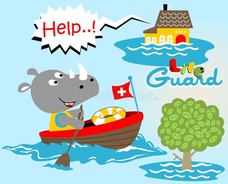 Носорог личная охрана, иллюстрация мультфильма вектора иллюстрация штока