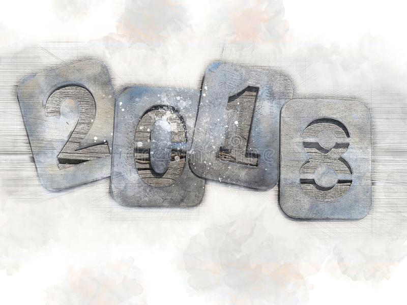 Ностальгическая иллюстрация на праздники рождества, до свидания 2018 Номера утюга на деревянной предпосылке стоковое изображение rf