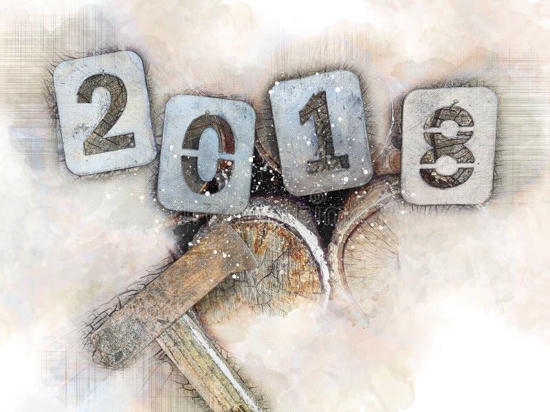 Ностальгическая иллюстрация на праздники рождества, прощание 2018 Номера утюга на куче швырка и оси woodcutter бесплатная иллюстрация