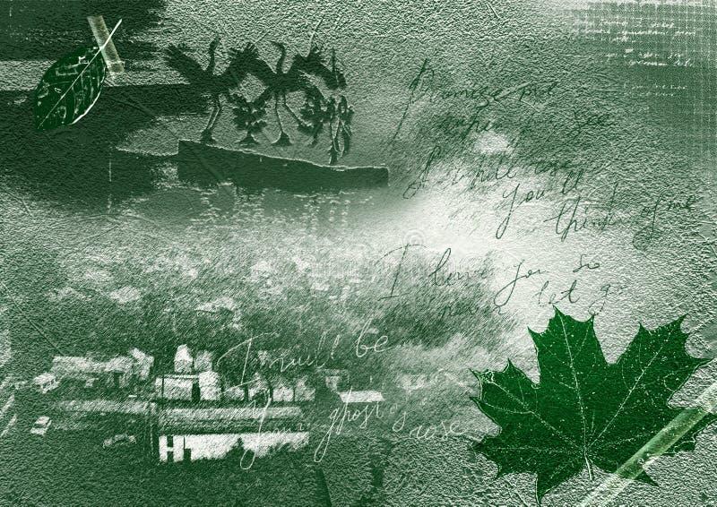 ностальгия коллажа зеленая иллюстрация штока