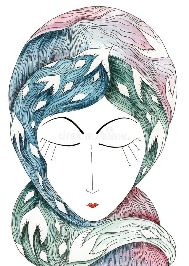Ностальгия символически представленная портретом женщины - цветом иллюстрация штока