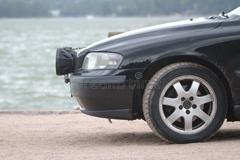 Нос черного автомобиля стоковая фотография