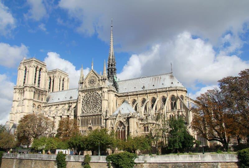 Нотре Даме Париж увиденное от позади стоковая фотография