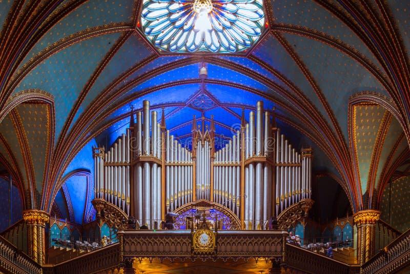 Нотр-Дам Монреаль, орган стоковое изображение