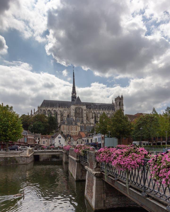 Нотр-Дам собора Амьена во Франции стоковые изображения rf