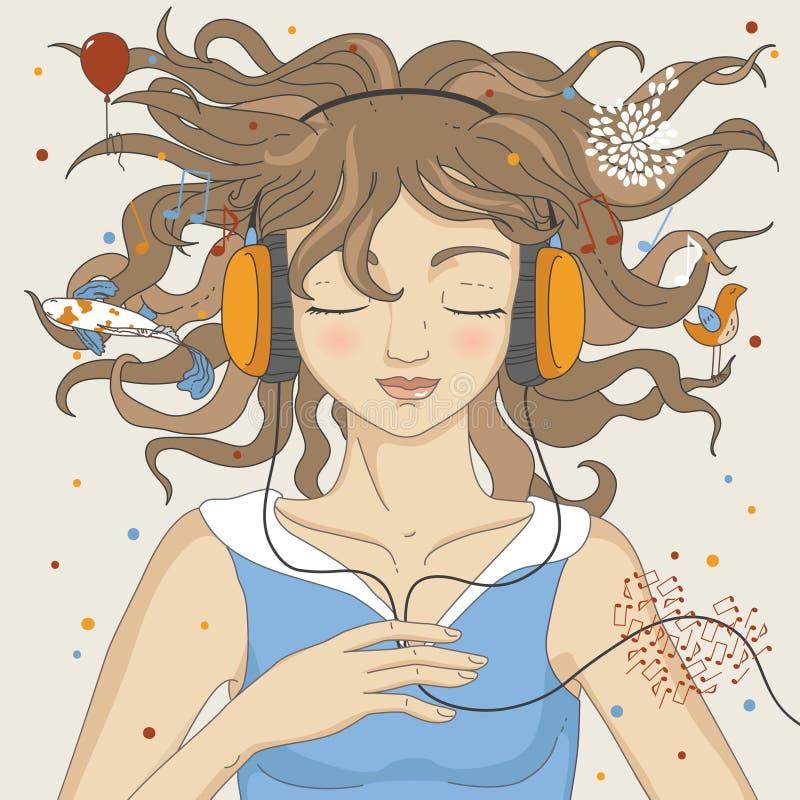 нот девушки слушая иллюстрация вектора