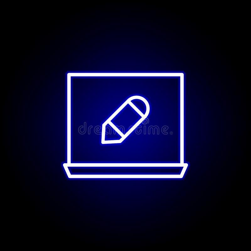 Ноутбук, значок инструмента карандаша в неоновом стиле Смогите быть использовано для сети, логотипа, мобильного приложения, UI, U иллюстрация штока