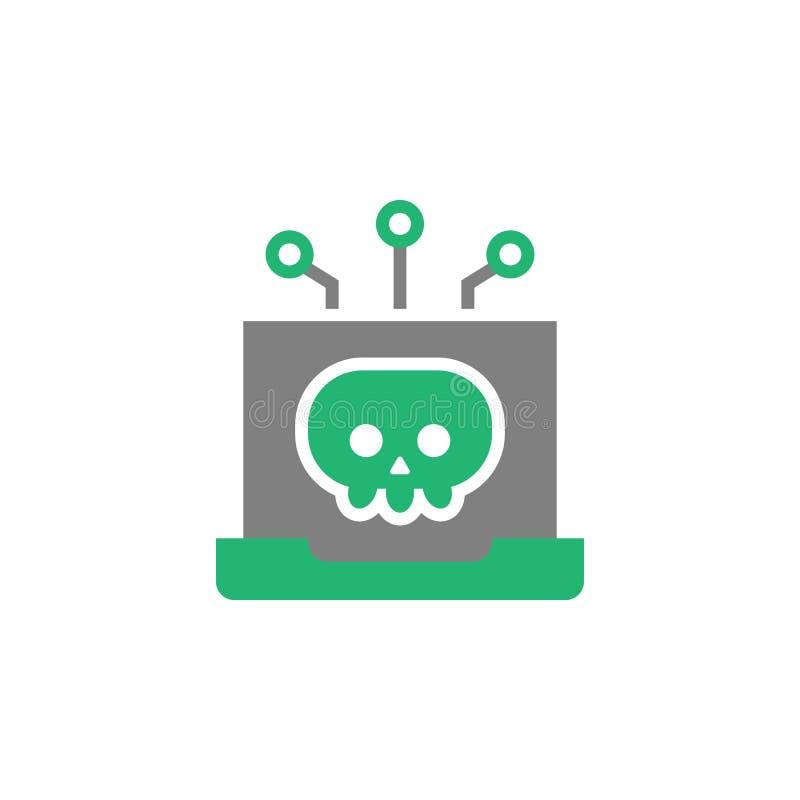 Ноутбук, значок malware Элемент значка кибер и безопасности для мобильных приложений концепции и сети Детализированный ноутбук, з иллюстрация штока