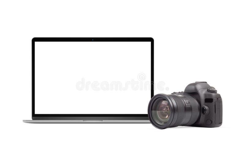 Ноутбук и графический элемент камеры DSLR стоковая фотография rf