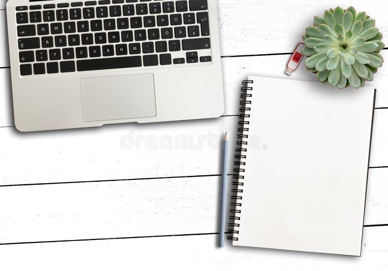 Ноутбук, пустые блокнот и карандаш и суккулентный завод на деревенском белом деревянном столе стоковое изображение