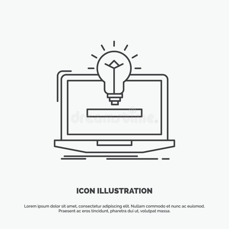 ноутбук, решение, идея, шарик, значок решения r иллюстрация штока