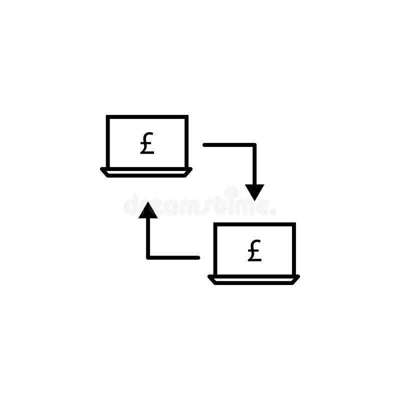 Ноутбук, соединение, значок фунта Элемент иллюстрации финансов Знаки и значок символов можно использовать для сети, логотипа, моб иллюстрация вектора