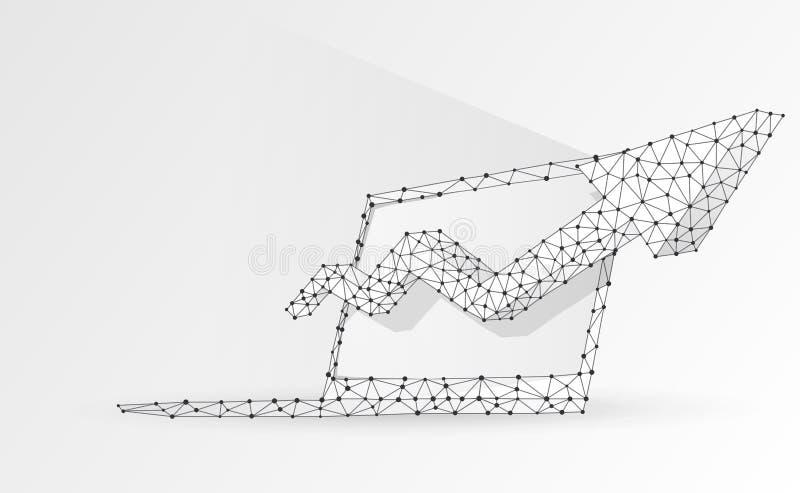 Ноутбук, стрелка вверх, символ тетради Прибор, рост, концепция успеха Конспект, цифровой, wireframe, низкая поли сетка, origami 3 бесплатная иллюстрация