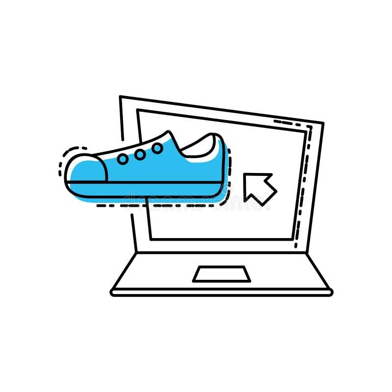Ноутбук с мужчиной ботинка иллюстрация штока