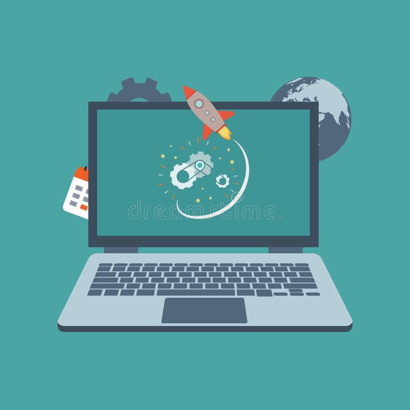 Ноутбук с предпосылкой ракеты белой - иллюстрацией вектора иллюстрация штока