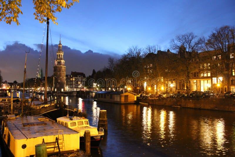 Ноча Амстердама стоковое изображение rf