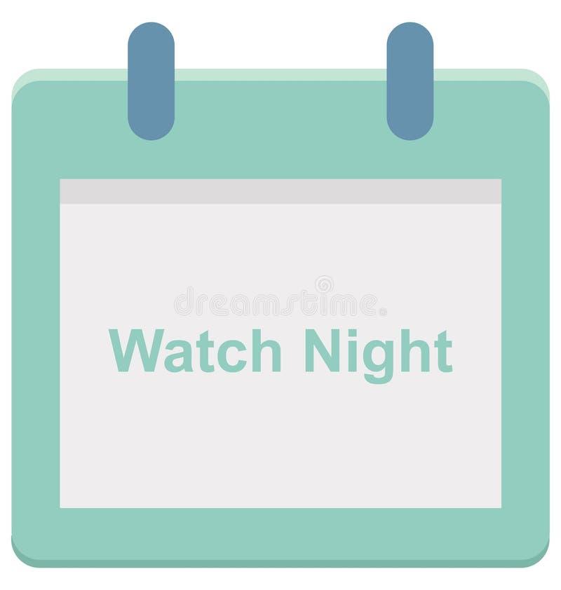 Ноча вахты, значок вектора дня специального события календаря ночи вахты который можно легко доработать или редактировать иллюстрация штока
