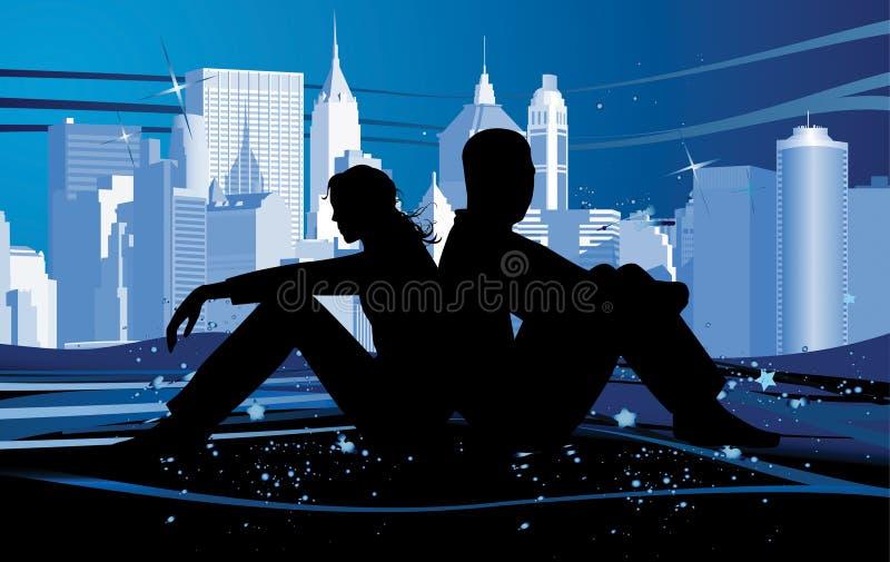ноча влюбленности пар иллюстрация штока