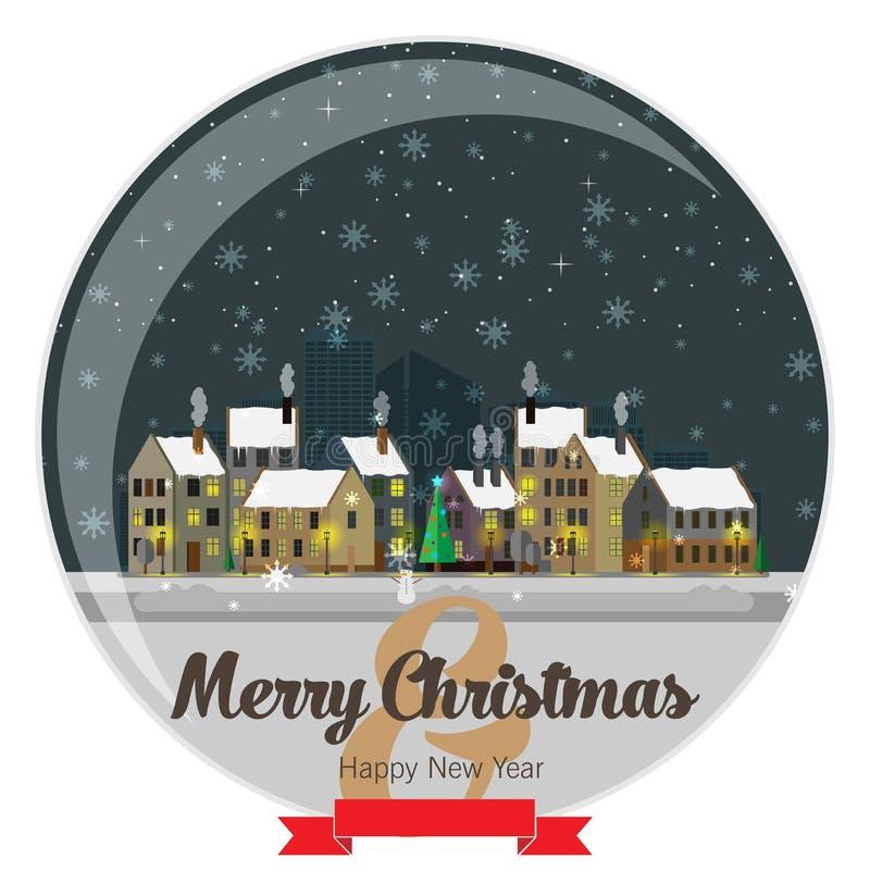 ноча волшебства ландшафта рождества Плоский дизайн иллюстрация вектора