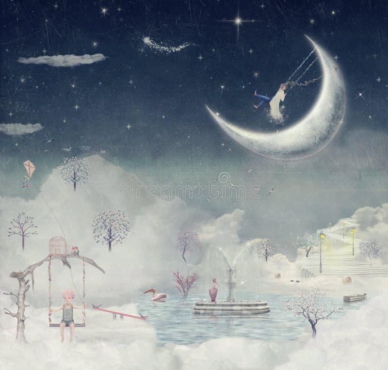 Ноча. Время чудес и волшебства иллюстрация вектора