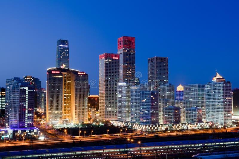 Ноча в Пекине CBD стоковые фотографии rf