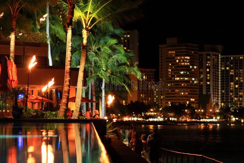 ноча Гавайских островов светлая стоковые фотографии rf