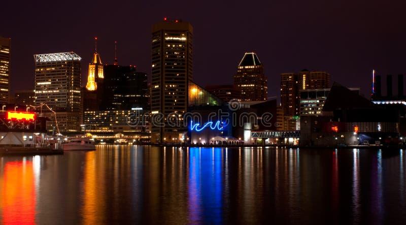 ноча гавани baltimore внутренняя стоковые изображения rf