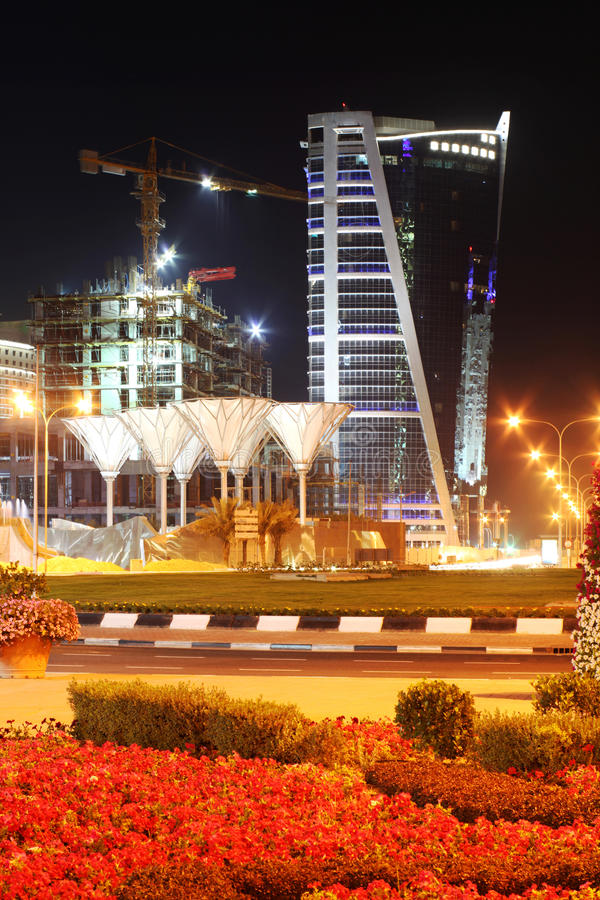 ноча гостиницы doha заречья стоковая фотография rf