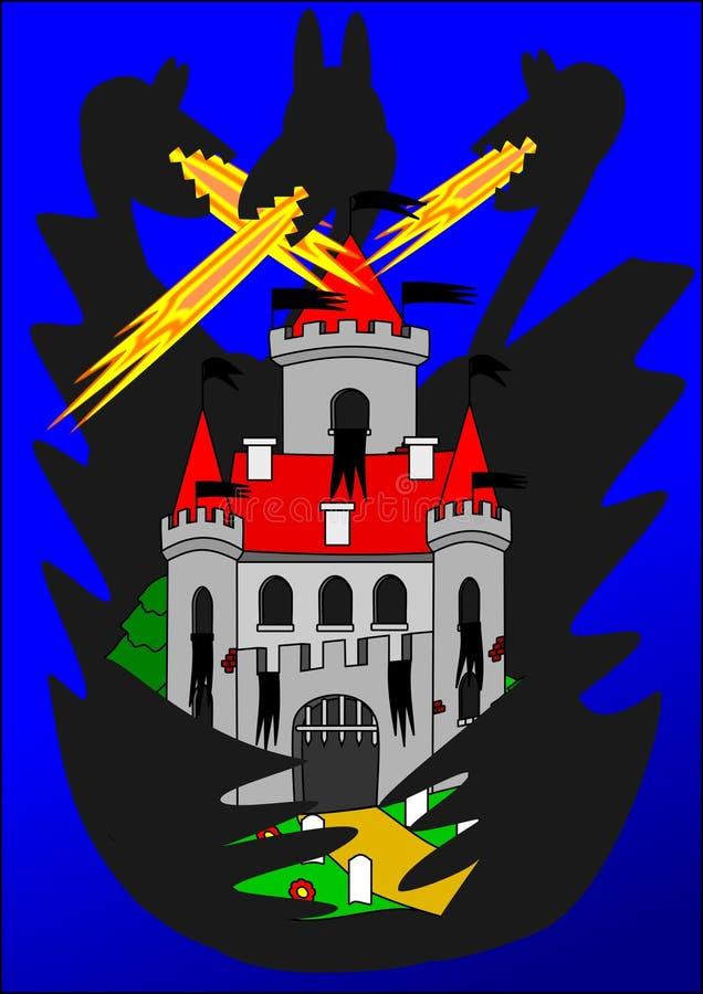 ноча дракона замока иллюстрация штока